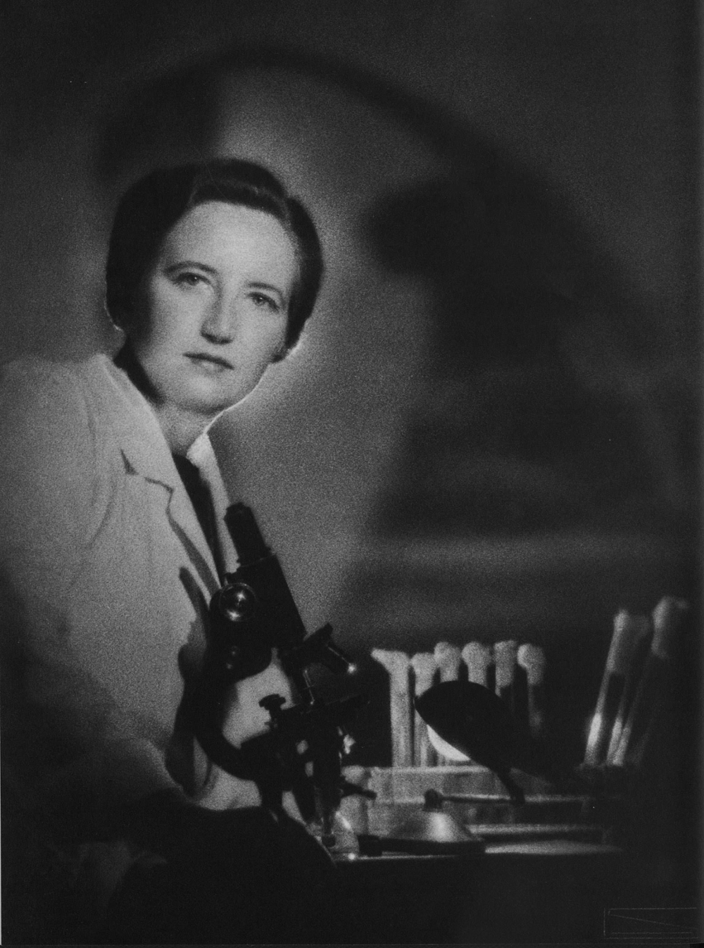Elizabeth Gambrell with microscope