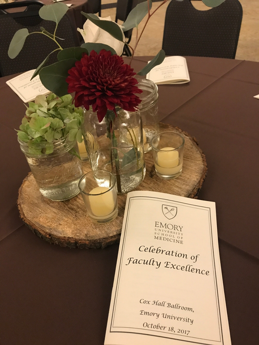 Event program on decorated table